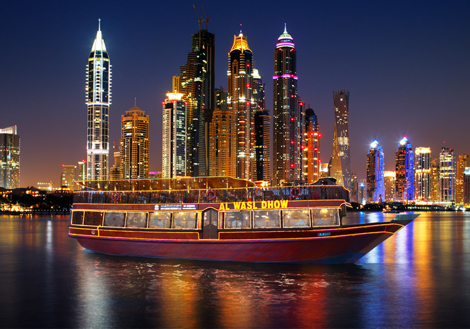 One of the biggest wooden Dhow Cruise in Dubai Marina