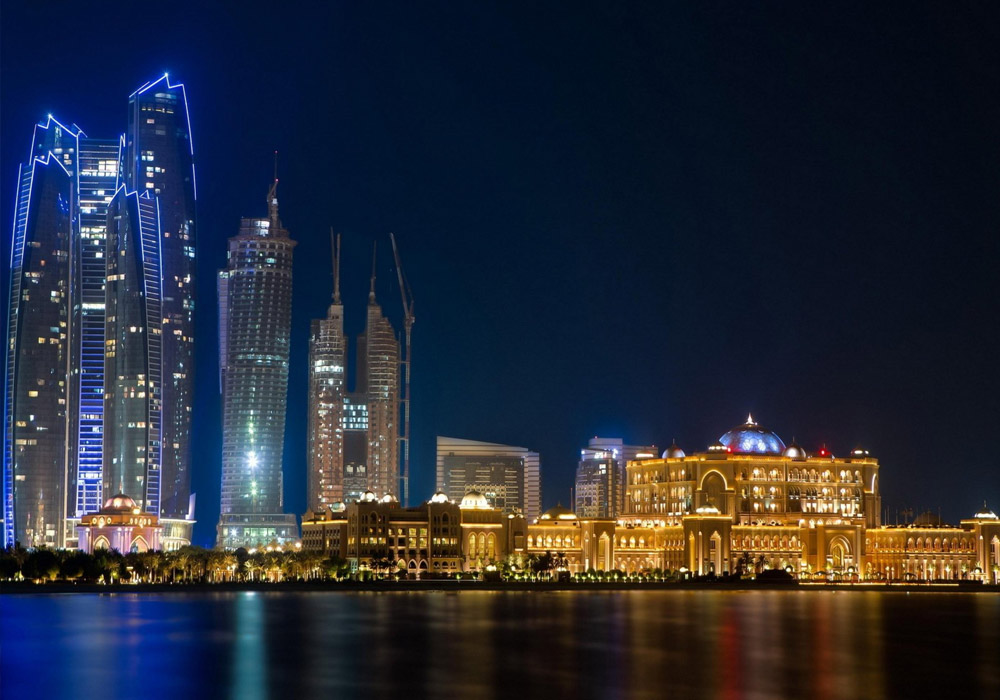 A vibrant look of Abu Dhabi under the nightfall