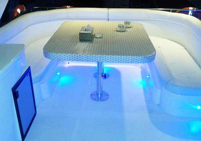 Stunning Outdoor Sitting Area Of 70 Feet Yacht