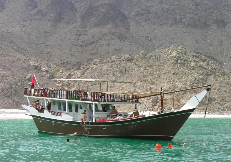 A traditional Arabian Dhow allows tourists to admire the beauty of nature