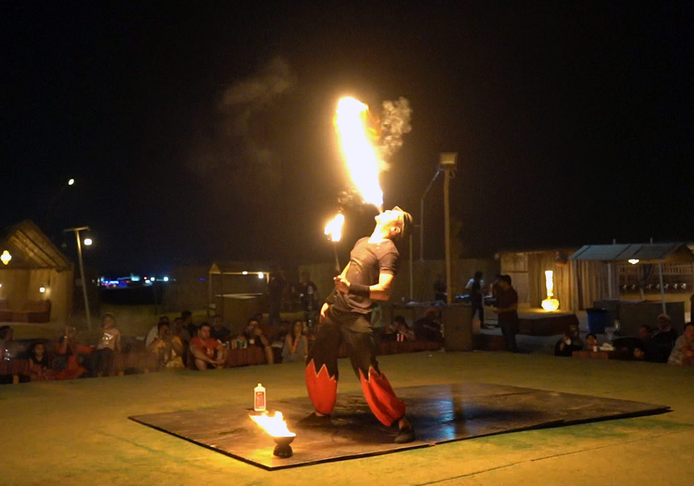Fire show performance at the Desert camp