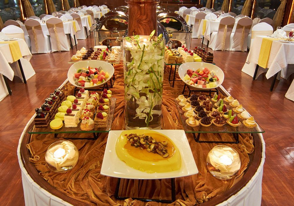 Different varieties of desserts waiting to be served to the guests