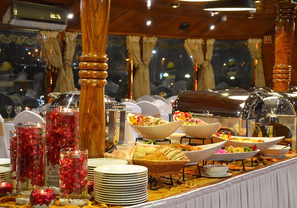 Buffet set up in the lower deck of Dhow