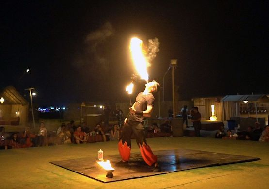 Fire show performance at the Desert campsite